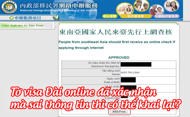 to visa dai online da xac nhan ma sai thong tin thi co the khai lai