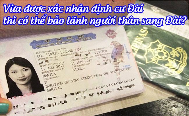 vua duoc xac nhan dinh cu dai thi co the bao lanh nguoi than sang dai